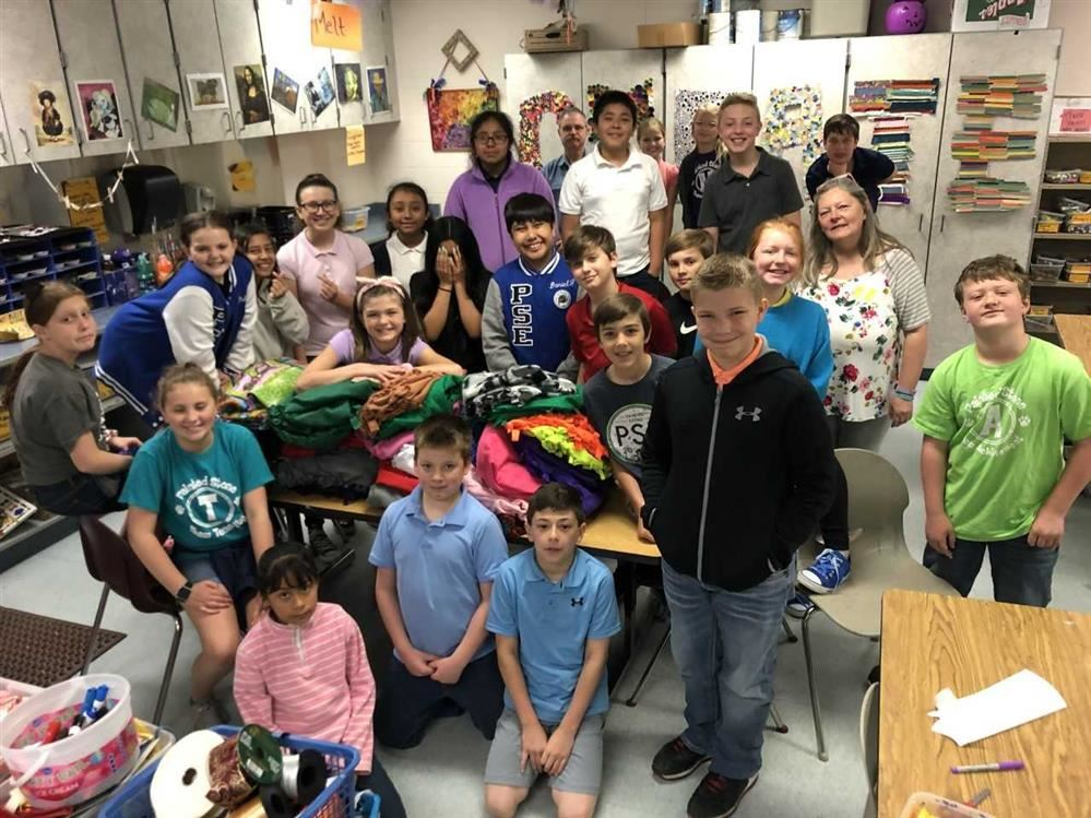 PSE - During art Mrs warren and Mrs proctors Students made 35 blankets for a place to sleep
