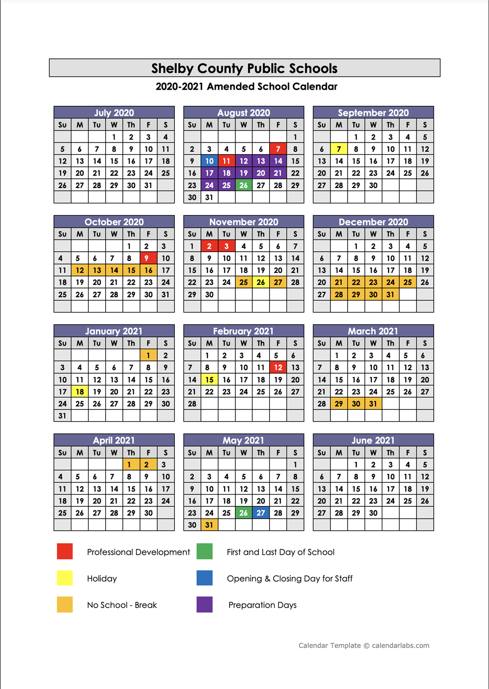 2020 - 2021 SCPS Amended School Calendar