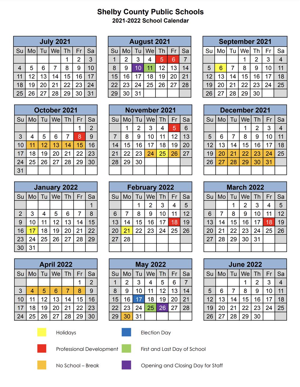 Scps Calendar 2022.Shelby County Public Schools Calendar