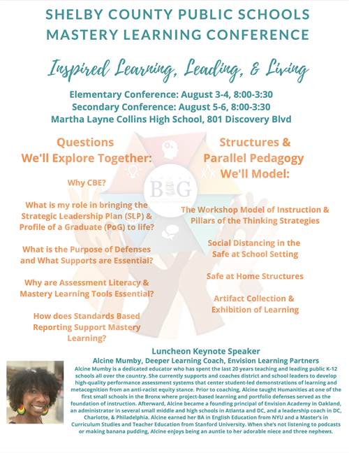 District Plans Mastery Learning Conference: Keynote Speaker Alcine Mumby