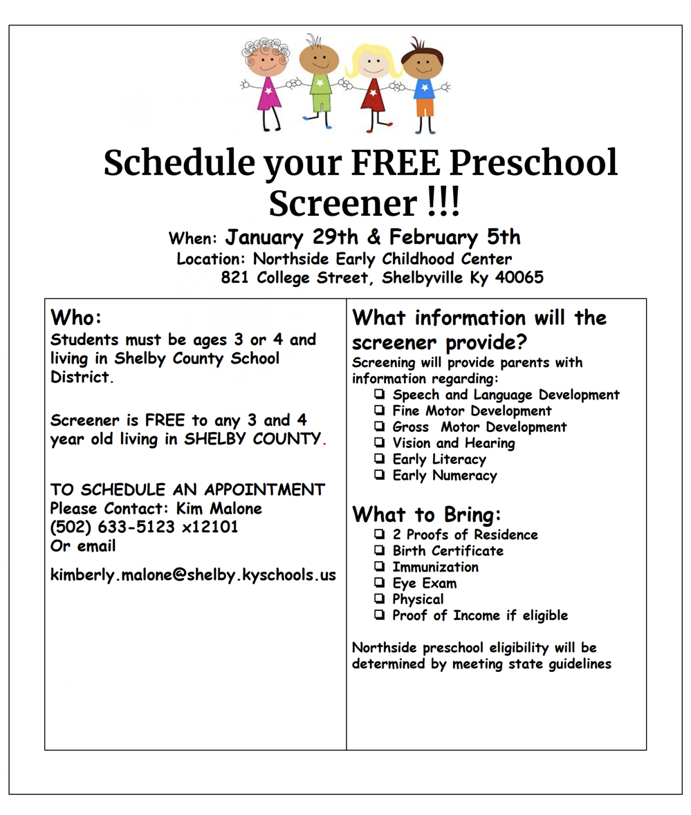Preschool Screenings on 1/29 and 2/5