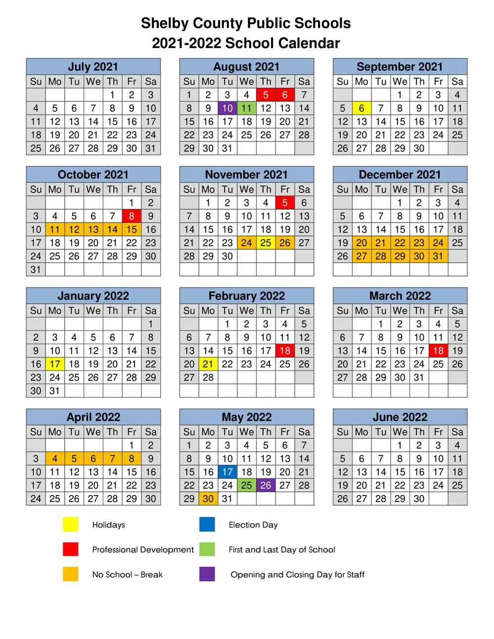Pictures of Greater Clark County Schools Calendar 2021-2022